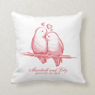 Sweet Lovebirds Valentine Wedding | Throw Pillow