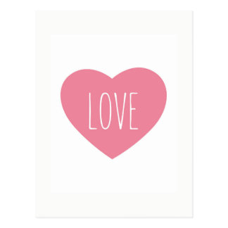 Sweet lovely pink heart love postcard