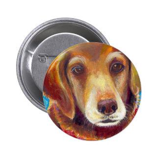 Sweet loving golden retriever dog painting pins