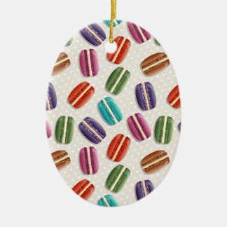 Sweet Macaron Cookies and Polka Dot Pattern Ceramic Oval Ornament