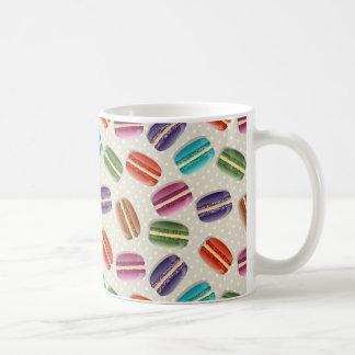 Sweet Macaron Cookies and Polka Dot Pattern Coffee Mug