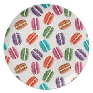 Sweet Macaron Cookies and Polka Dot Pattern Dinner Plates