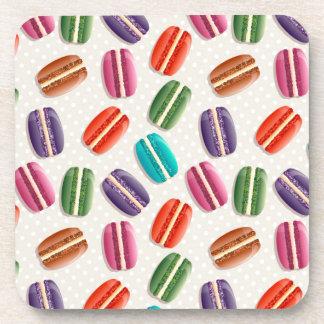 Sweet Macaron Cookies and Polka Dot Pattern Drink Coaster