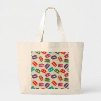 Sweet Macaron Cookies and Polka Dot Pattern Large Tote Bag