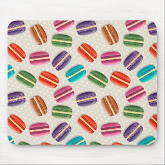 Sweet Macaron Cookies and Polka Dot Pattern Mouse Pad
