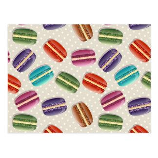 Sweet Macaron Cookies and Polka Dot Pattern Postcard