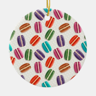 Sweet Macaron Cookies and Polka Dot Pattern Round Ceramic Ornament