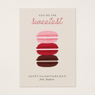 Sweet Macarons Kids Classroom Valentine Business Card