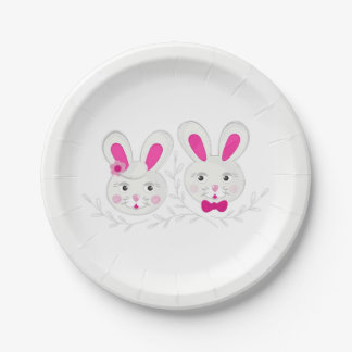 Sweet male female rabbits paper plate