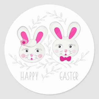 Sweet male female rabbits wish you happy Easter Classic Round Sticker