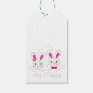 Sweet male female rabbits wish you happy Easter Gift Tags