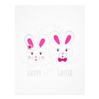 Sweet male female rabbits wish you happy Easter Letterhead