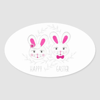 Sweet male female rabbits wish you happy Easter Oval Sticker