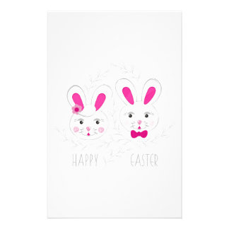 Sweet male female rabbits wish you happy Easter Stationery