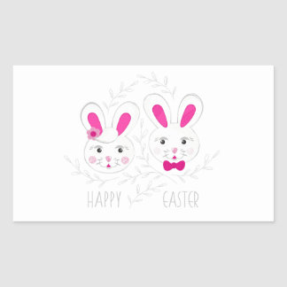 Sweet male female rabbits wish you happy Easter Sticker