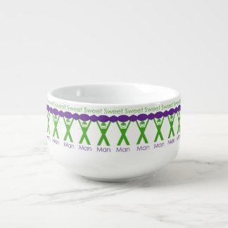 Sweet Man Funny Green and Purple Slogan Design Soup Mug