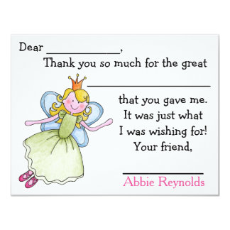 Sweet Manners Fairy Fill In Thank You Notes Card