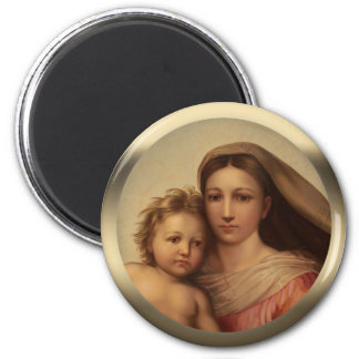 Sweet Mary and Jesus child Sistine madonna Prang Magnet