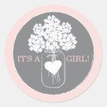 Sweet Mason Jar Baby Shower Favour Sticker