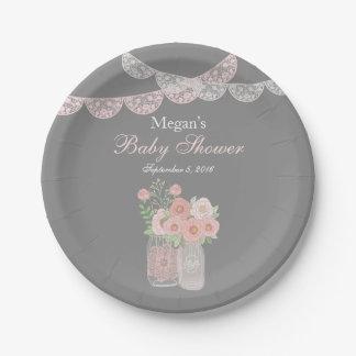 Sweet Mason Jar Pink Gray Baby Shower Paper Plates