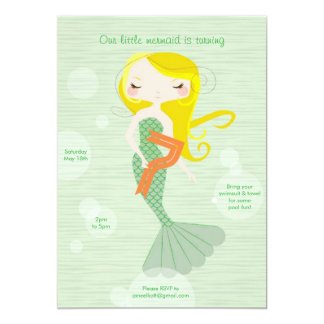 Sweet Mermaid - Age 7 Personalized Invitation