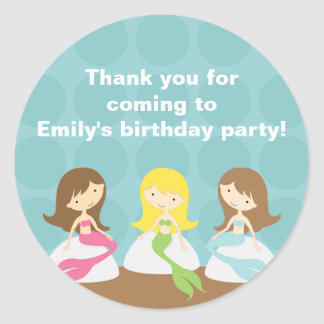 Sweet Mermaids Birthday Stickers