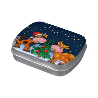 Sweet Merry Christmas Cow Couple By Christmas Tree