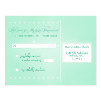 Sweet Mint Green Poster Style RSVP Postcard