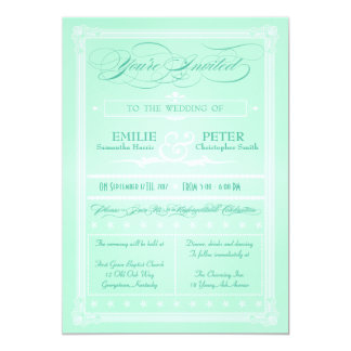 Sweet Mint Green Poster Style Wedding Invitation