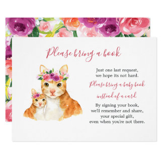 Sweet Mom And Baby Cat Baby Shower Book Card