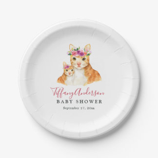 Sweet Mom And Baby Cat Floral Baby Shower Plate