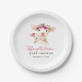 Sweet Mom And Baby Lamb Floral Baby Shower Plate