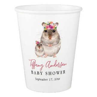Sweet Mom And Baby Mouse Floral Baby Shower Cup