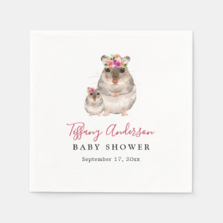 Sweet Mom And Baby Mouse Floral Baby Shower Napkin
