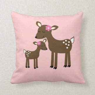 Sweet Mommy and Baby Deer - Pink Girl Pillow