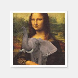 Sweet Mona Lisa Loves Elephant Disposable Napkins