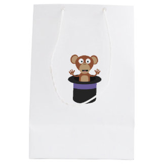 sweet monkey in hat medium gift bag