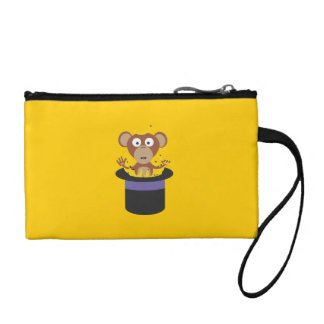 sweet monkey with bananas in hat coin purse