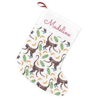 Sweet Monkeys Juggling Bananas | Add Your Name Small Christmas Stocking