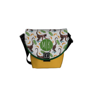 Sweet Monkeys Juggling Bananas | Monogram Messenger Bags