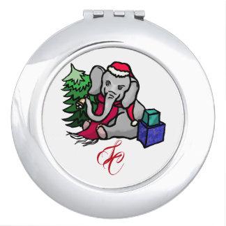 Sweet Monogram Cartoon Santa Christmas Elephant Travel Mirror
