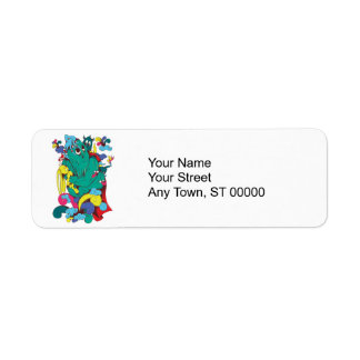 sweet monster cartoon art return address label