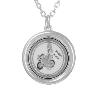 sweet motorcycle silver plated necklace