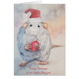 Sweet mouse with a red ball in snow card
