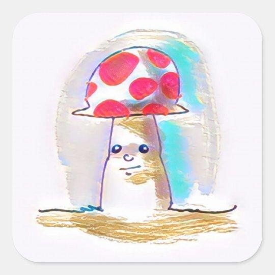 sweet mushroom cartoon style illustration square sticker