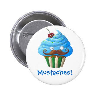 Sweet Mustached Cupcake 2 Inch Round Button