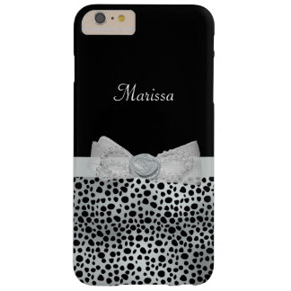 Sweet Name With Chic Cheetah Print and Silver Bow Barely There iPhone 6 Plus Case