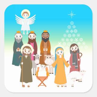 Sweet Nativity Scene Square Sticker
