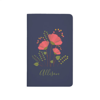 Sweet Navy Floral Flower Personalized Journal
