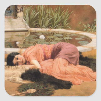 Sweet Nothings by John William Godward Square Sticker